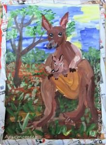 Благодаров Георгий. Счастливо улыбаются мама и дитя кенгуру